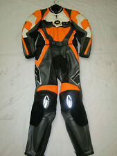 RICHA MENS TWO PIECE SILVER / ORANGE / GREY LEATHER MOTORCYCLE SUIT