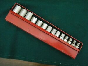 Wright Tools 3/8 Drive  DEEP  WELL Sockets Set 14 Piece METRIC METAL BOX  LL