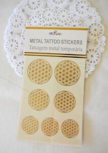 Metal Tattoo Stickers -Flower of Life Sacred Geometry Waterproof ,Removable 10pc