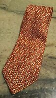 Salvatore Ferragamo Silk Necktie Gold/Red/Orange/Green Woven Pattern Gently Used