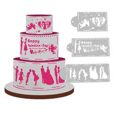 4pcs Wedding Cake Cookies Fondant Stencil Decoration Design Pattern Baking Tools