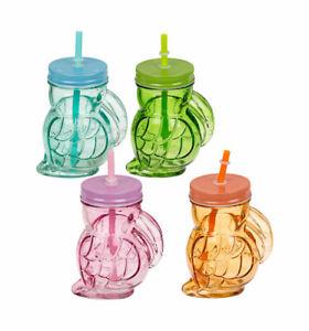4 Trinkglas Tukan mit Trinkhalm und Metalldeckel 370ml Einmachglas Sommer Garten