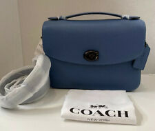 Coach CASSIE Crossbody Bag In Polished Pebble Leather Stone Blue - 68348 💯%AUTH