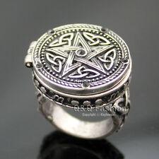 Vintage Silver Tribal Celtic Trinity Knot Star Carved Locket Band Finger Ring CH