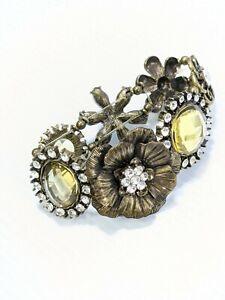 Bronze Tone Yellow Cabochon Crystal Flower Panel Stretch Bracelet