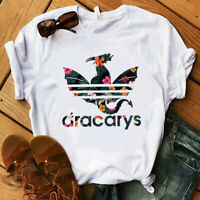 New Women's Dracarys Dragon Shirt Mother of Dragons Flower Short Sleeve T-Shirt
