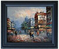 Framed Old Paris Street-3, Quality Hand Painted Oil Painting 16x20in
