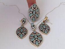 Turkish Handmade Hurrem Sultan Set 925 Sterling Silver Rings Size 7(Resizable)