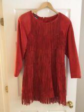 MARIO VALENTINO ITALY DRESS, RUST SUEDE VINTAGE, SIZE 50-52 ITALIAN, 14-16 US