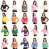 Fashion Cotton Women's Long Sleeve Basic Crop Top Round Neck With Stretch