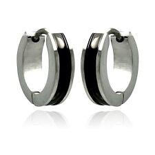 Stainless Steel Black Enamel Center Huggie Hoop Earrings