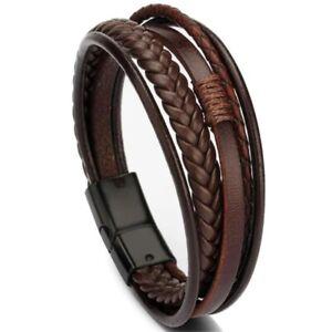 Trendy Genuine Leather Bracelets Men Stainless Steel Multilayer Braided Rope Bra