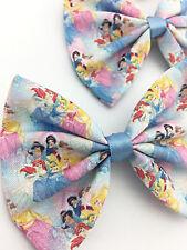 Blue Princess Print Fabric Medium Hair Bow - Fairytale Inspired Hair Clip