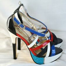 Sandals High Heel Strappy Shoes Red White Blue Black Glittery Size 3 Pole Stripe
