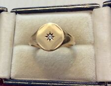 Good Gents Vintage London 1977 Full Hallmarked 9CT Mens Diamond Signet Ring