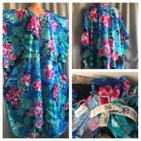 80's VTG NOS LORRAINE House Dress Nightgown Blue Pink HAWAIIAN Caftan Long Gown
