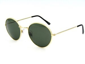 H&M Rounded Metal Unisex Sunglasses, Gold / Gray Green #12H