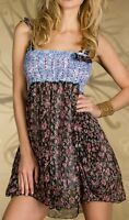 SeXy Damen Girly Chiffon Blumen Mini Kleid Strass Dress 32/34 XS bunt NEU TOP