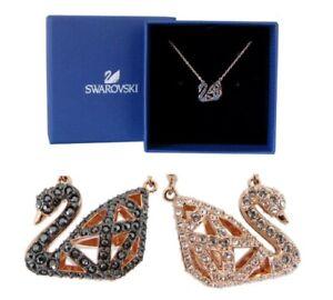 New SWAROSKI Rose Gold Reversible Sparkle Crystal Iconic Swan Pendant Necklace