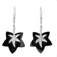 Genuine Diamond & Onyx Earrings Solid White Gold