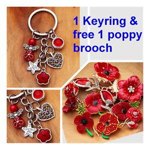 Poppy keyring + free poppy brooch ( every purchase will receive 1 poppy brroch**