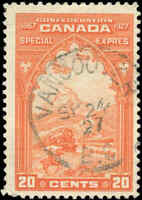 1927 Used Canada 20c F+ Scott #E3 Special Delivery Stamp