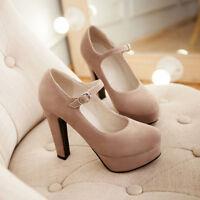 Fashion Womens Faux Suede Platform Ankle Strap High Heel Pumps Dress Shoes Size