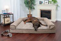 FurHaven Pet Cooling, Orthopedic, Memory Foam Chenille Soft Woven Sofa Dog Bed