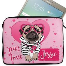 """Personalised Tablet Cover CUTE PUG Neoprene Sleeve Case Girls 7"""" - 10"""" KS124"""