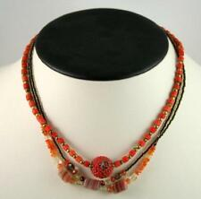 Multi Strand Carnelian and Agate Beads with Coral Pendant Necklace