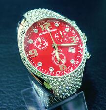 "Franchi Menotti 9004 Swiss Chrono. RED DIAL ""Swarovski Cristalli'S & Mesh Bracelet"