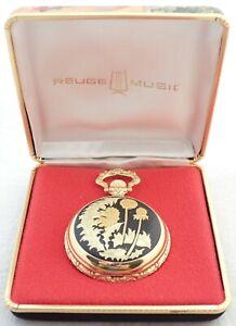 Vintage Swiss Reuge Mechanical Music Box Hunter Pocket Watch With Original Case