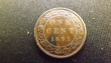 CANADA CENT 1891 HIGH GRADE LARGE LEAVES SMALL DATE RARE