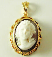 CAMEO PENDANT VINTAGE 9CARAT GOLD DATED 1975 5.4 GRAMS ROPE DESIGN BORDER