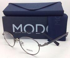 New MODO Titanium Rx-able Eyeglasses 126 APEW 46-18 Gunmetal & Black Round Frame
