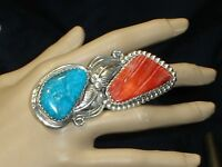 LG NAVAJO STERLING SILVER TURQUOISE SPINY RING SZ-8.25 NATIVE AMERICAN DEAD PAWN