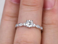 0.62 Ct Round Cut Diamond Engagement Ring 14K Solid White Gold Rings Size 5 6 7