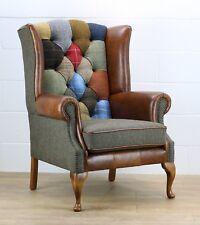 Patchwork Harris Tweed chair genuine leather