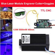 Powerful CNC TTL 5.5W 5500mW 450nm Blue Laser Module Engraving Cutter w/ Goggles
