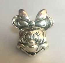 Minnie Mouse Head Portrait Charm For Bracelets Silver Plated