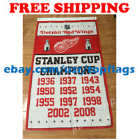 Detroit Red Wings Stanley Cup Champions Flag Banner 3x5 ft 2019 NHL Hockey NEW