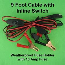 12V 10A Battery Power 9 Foot Cable w/ Spring Clips Clamps Inline Switch 10A Fuse