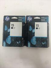 HP C6615DN 15 Black Original Ink Cartridge Deskjet 3820 Lot of 2 Sealed OCT 2018