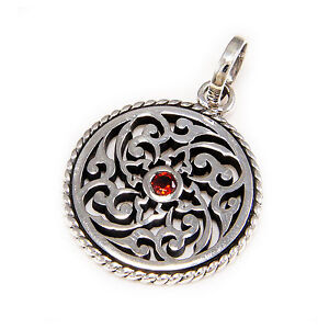 RED CUBIC ZIRCONIA FLORAL ENGRAVED MEDALLION 925 STERLING SILVER PENDANT tan-066