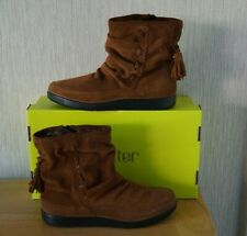 Ladies HOTTER PIXIE Brown Tan Suede Slouch Flat Ankle Boots Size UK 3 EXF BNIB