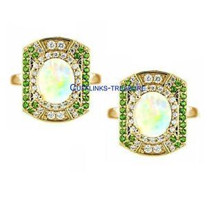 Ethiopian Opal & tsavorite Garnet Gemstone with 925 Silver Gold Plated Cufflinks