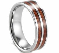 8mm Tungsten Carbide Two Stripes Genuine Koa Wood Inlay Men's Wedding Band Ring