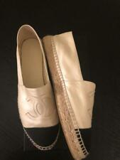Chanel Flats Espadrilles Boat Pearl Ivory White Black 41 42 10 10.5