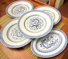 chinesisches Porzellan, Reiskornmuster, Drache, 5 tlg., blau-weiß, Teller
