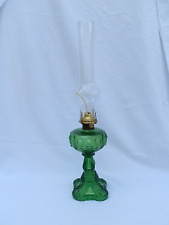 Antique Victorian EAPG Bullseye Emerald Green Oil Lamp